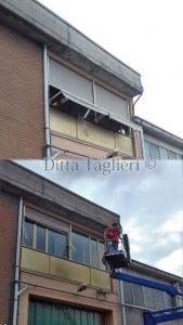 Ditta Taglieri - Tenda a bracci caduta verticale prima/dopo